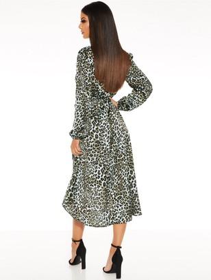 Quiz Satin Animal Long Sleeve Dip Hem Dress - Green/Black