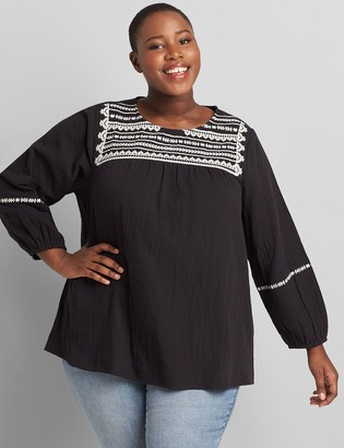 Lane Bryant Embroidered Gauze Peasant Top