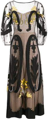 Temperley London Art Deco-Embroidered Tulle Midi Dress