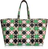 Emilio Pucci Green and Multicolor Symbols Print Leather Tote