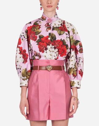 Dolce & Gabbana Geranium-Print Poplin Shirt