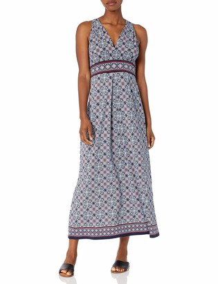 Max Studio Women's V-Neck Sleeveless Printed Maxi Dress