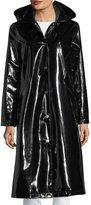 Jane Post Hooded Snap-Front Long Rain Slicker Jacket