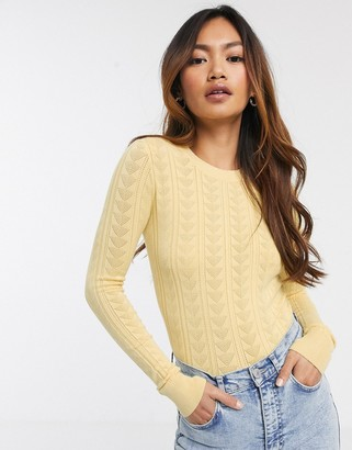 Miss Selfridge rib jumper in lemon-Yellow