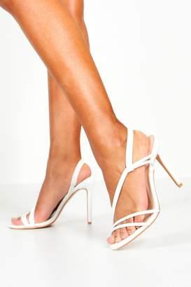 boohoo Asymmetric Strap Heels