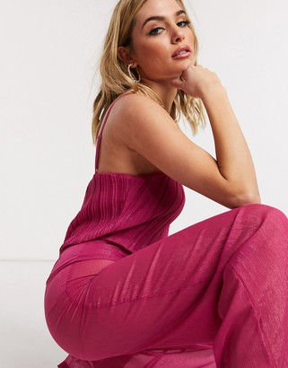UNIQUE21 Unique 21 shimmer bodysuit jumpsuit with sheer trousers in raspberry