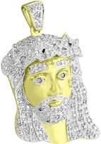 "Master Of Bling Genuine Diamond Jesus Christ Pendant Tone Sterling Silver Christ Charm 1.3"""