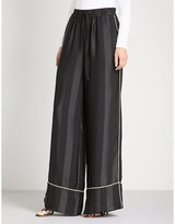 KENDALL + KYLIE KENDALL & KYLIE Striped wide high-rise satin and silk trousers