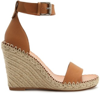 Dolce Vita Noor Leather Raffia Platform Wedge Sandals