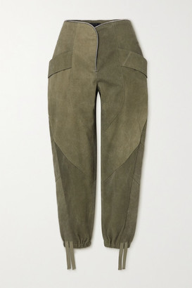 RtA Zelie Paneled Canvas Tapered Pants - Army green