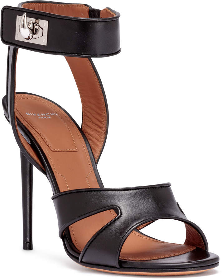Givenchy Black leather shark-lock sandals
