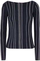Theory Striped Ribbed Stretch-knit Top - Midnight blue