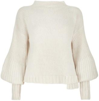 Salanida Puff Sleeve Alpaca Blend Sweater - Off White