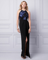 Le Château Embroidered Mesh Halter Gown