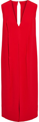Victoria Beckham Open-back Layered Draped Crepe Midi Dress