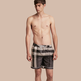 Burberry Check Print Swim Shorts with Piping Detail
