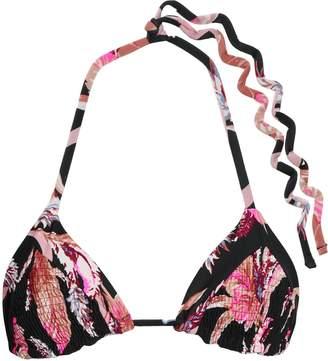 Tori Praver Swimwear Shirred Floral-print Triangle Bikini Top