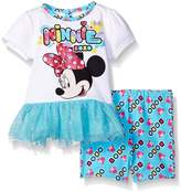 Disney Baby Girls' Minnie Mouse 2-Piece Knit Top and Bike Short Set