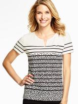 Talbots Splatter-Stripes Colorblocked Tee