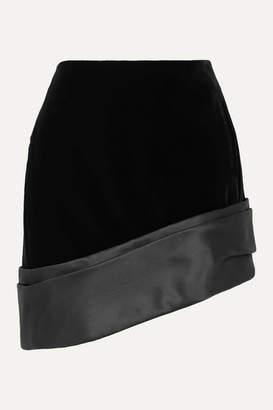 Saint Laurent Asymmetric Silk-satin Trimmed Velvet Mini Skirt - Black