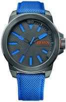 BOSS ORANGE Mens Qa, Ip Grey Rnd Case, Gray Dial, Woven Nylon Blue Strap