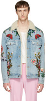 Gucci Blue Embroidered Shearling Denim Jacket