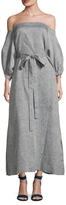 Linen Bubble Sleeve Off Shoulder Dress