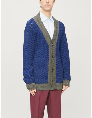Pal Zileri Contrast trim chunky knitted cardigan