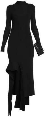 Off-White Off White Asymmetric Knit Long-Sleeve Dress