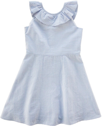 Florence Eiseman Girl's Striped Ruffle One-Shoulder Dress, Size 7-12