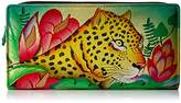 Anuschka Anna By Handpainted Leather Two Fold Wallet,Jungle Leopard Wallet