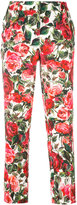 Dolce & Gabbana cropped rose trousers - women - Silk/Cotton/Viscose - 42