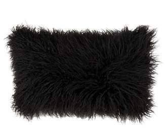 "Mid-Century MODERN Saro Lifestyle 12""x20"" Poly Filled Faux Mongolian Fur Pillow Black"
