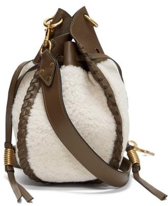 Isabel Marant Radja Whipstitched Shearling Bucket Bag - White Multi