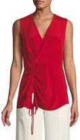 Derek Lam V-Neck Sleeveless Asymmetrical-Ruched Silk Blouse