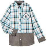 Beverly Hills Polo Club Hawaiian Ocean Plaid Contrast-Trim Button-Up - Toddler & Boys