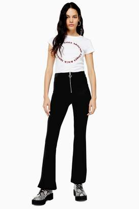 Topshop Womens Petite Black Corduroy Front Zip Flare Trousers - Black