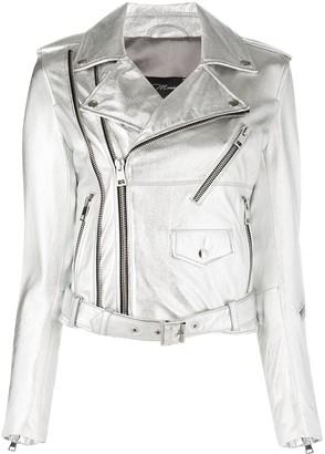 Manokhi Metallic Multi-Pocket Biker Jacket