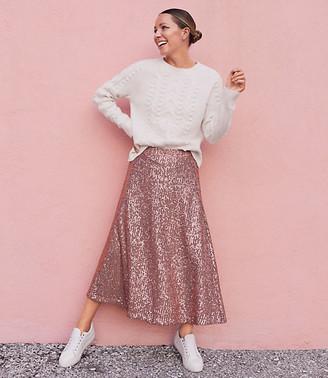 LOFT Sequin Midi Skirt