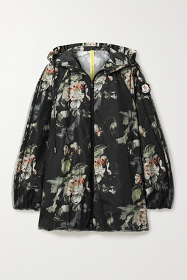 MONCLER GENIUS + 4 Simone Rocha Hooded Tulle And Floral-print Shell Jacket - Black