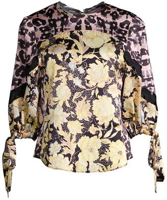 Rebecca Taylor Floral Contrast Silk Tie Blouse
