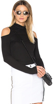 Lanston Cold Shoulder Turtleneck Top in Black. - size L (also in )