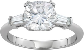 Charles & Colvard 14k White Gold 2 3/4 Carat T.W. Lab-Created Moissanite Cushion & Baguette Ring