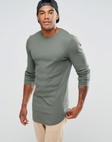 Asos Rib Super Longline Muscle Long Sleeve T-shirt With Curved Hem In Khaki