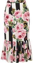 Dolce & Gabbana Floral-print Silk-blend Midi Skirt - Pink