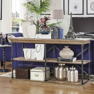 Inspire Q Barnstone Cornice Iron and Wood Entryway Console Table by Artisan
