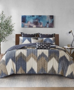 INK+IVY Alpine King/Cal King 3 Piece Printed Cotton Coverlet Set Bedding