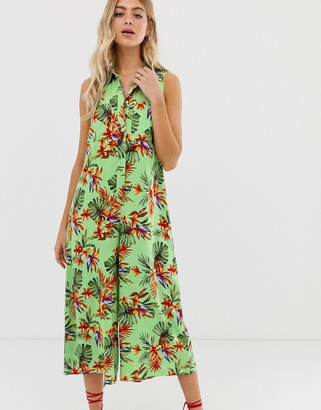 ASOS DESIGN casual culotte shirt jumpsuit in tropical print