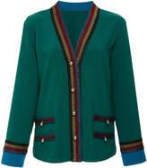 Anna Sui Color Block Crepe Cardigan