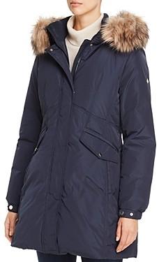 Kate Spade Fine Oxford Faux Fur Trim Parka